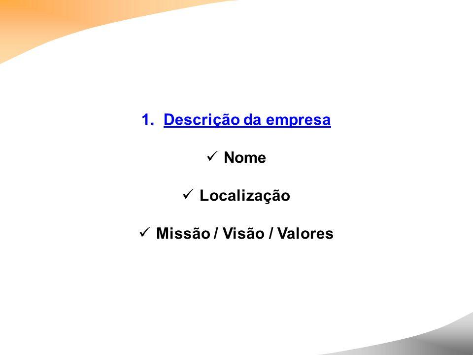 1. Descrição da empresa Nome Localização Missão / Visão / Valores