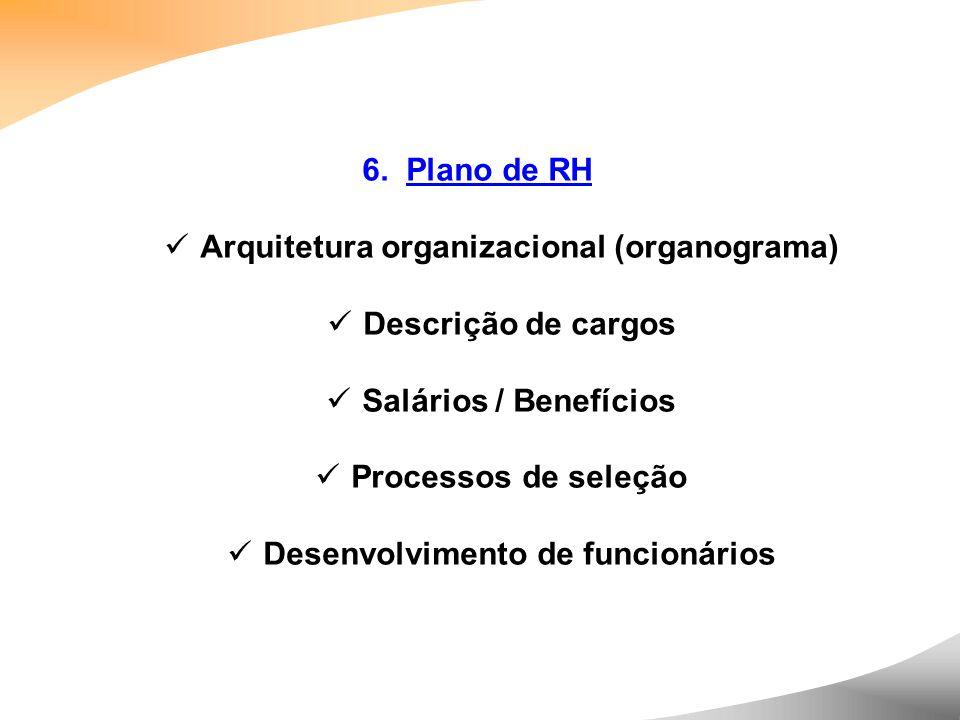 6. Plano de RH Arquitetura organizacional (organograma) Descrição de cargos Salários / Benefícios Processos de seleção Desenvolvimento de funcionários