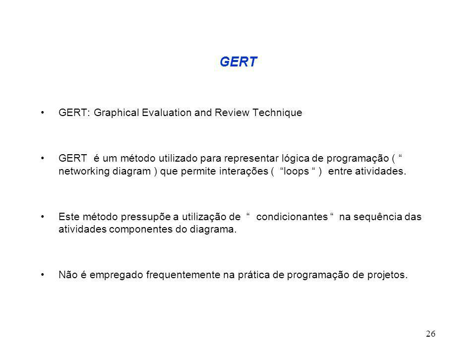 "26 GERT GERT: Graphical Evaluation and Review Technique GERT é um método utilizado para representar lógica de programação ( "" networking diagram ) que"