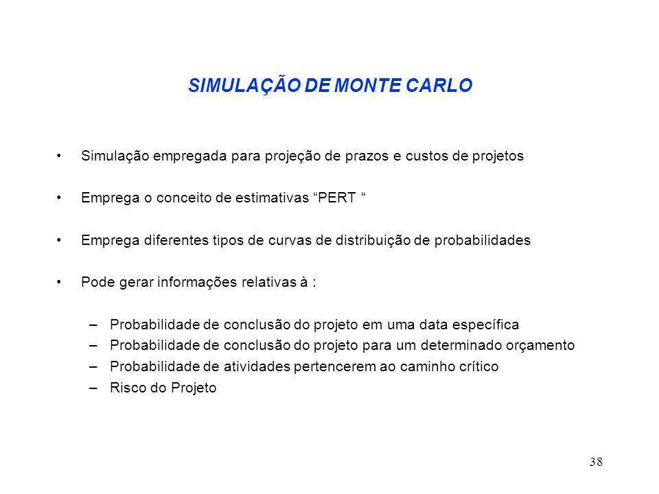 """38 SIMULAÇÃO DE MONTE CARLO Simulação empregada para projeção de prazos e custos de projetos Emprega o conceito de estimativas """"PERT """" Emprega diferen"""