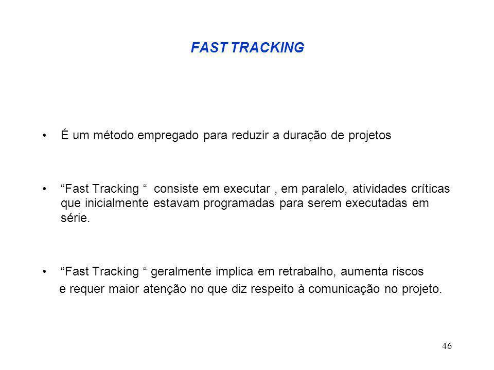 46 FAST TRACKING É um método empregado para reduzir a duração de projetos Fast Tracking consiste em executar, em paralelo, atividades críticas que inicialmente estavam programadas para serem executadas em série.