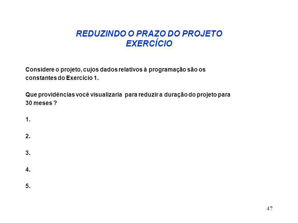 47 REDUZINDO O PRAZO DO PROJETO EXERCÍCIO Considere o projeto, cujos dados relativos à programação são os constantes do Exercício 1.