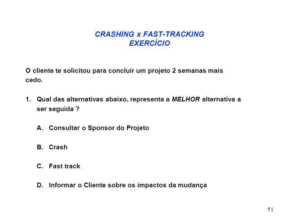 51 CRASHING x FAST-TRACKING EXERCÍCIO O cliente te solicitou para concluir um projeto 2 semanas mais cedo. 1. Qual das alternativas abaixo, representa