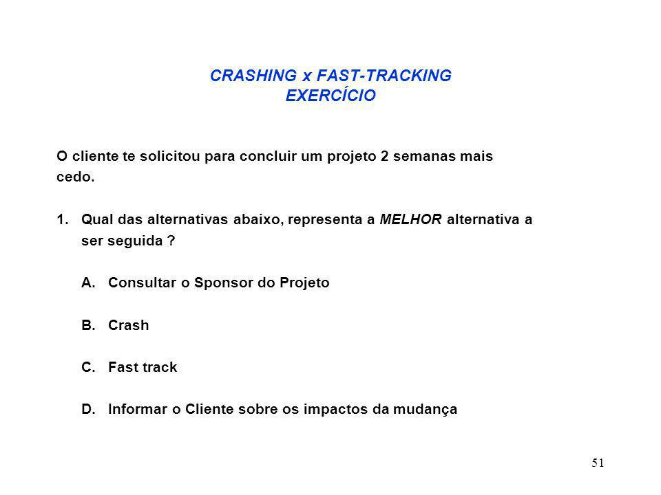 52 CRASHING x FAST-TRACKING EXERCÍCIO 2.
