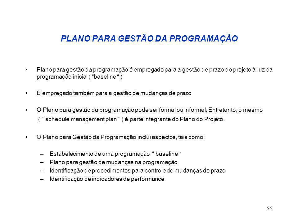 """55 PLANO PARA GESTÃO DA PROGRAMAÇÃO Plano para gestão da programação é empregado para a gestão de prazo do projeto à luz da programação inicial ( """"bas"""