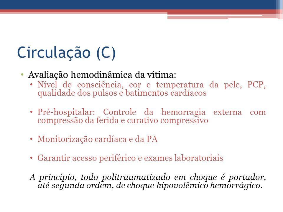 Circulação (C) Avaliação hemodinâmica da vítima: Nível de consciência, cor e temperatura da pele, PCP, qualidade dos pulsos e batimentos cardíacos Pré