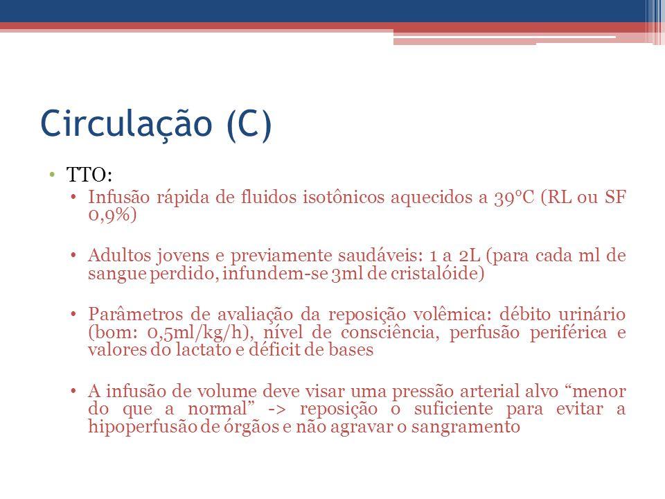 Circulação (C) TTO: Infusão rápida de fluidos isotônicos aquecidos a 39°C (RL ou SF 0,9%) Adultos jovens e previamente saudáveis: 1 a 2L (para cada ml