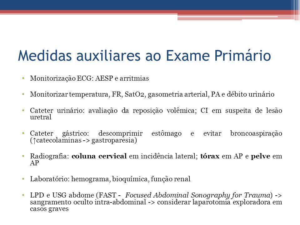 Medidas auxiliares ao Exame Primário Monitorização ECG: AESP e arritmias Monitorizar temperatura, FR, SatO2, gasometria arterial, PA e débito urinário