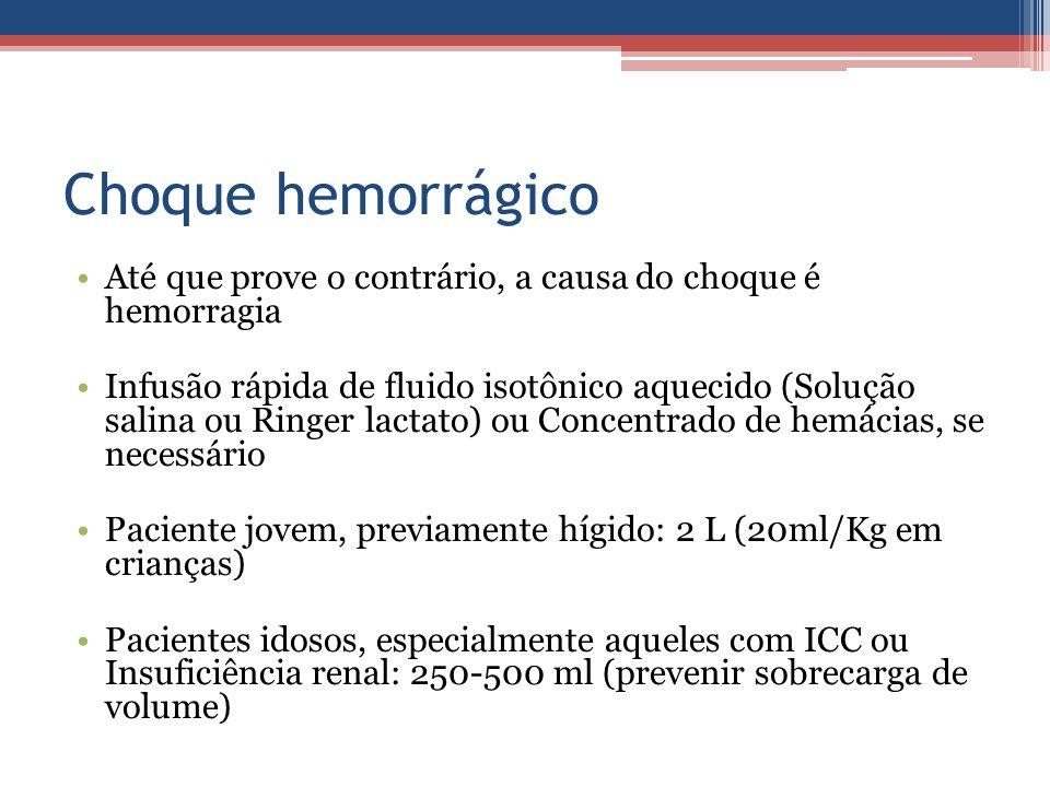 Choque hemorrágico Até que prove o contrário, a causa do choque é hemorragia Infusão rápida de fluido isotônico aquecido (Solução salina ou Ringer lac