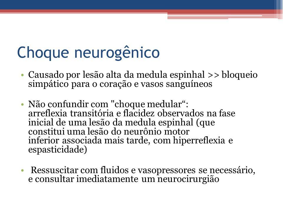 Choque neurogênico Causado por lesão alta da medula espinhal >> bloqueio simpático para o coração e vasos sanguíneos Não confundir com