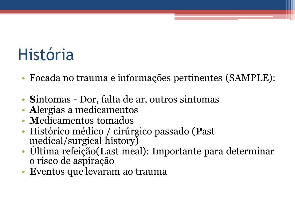 História Focada no trauma e informações pertinentes (SAMPLE): Sintomas - Dor, falta de ar, outros sintomas Alergias a medicamentos Medicamentos tomado