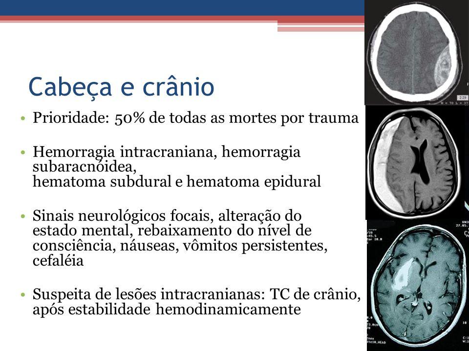 Cabeça e crânio Prioridade: 50% de todas as mortes por trauma Hemorragia intracraniana, hemorragia subaracnóidea, hematoma subdural e hematoma epidura