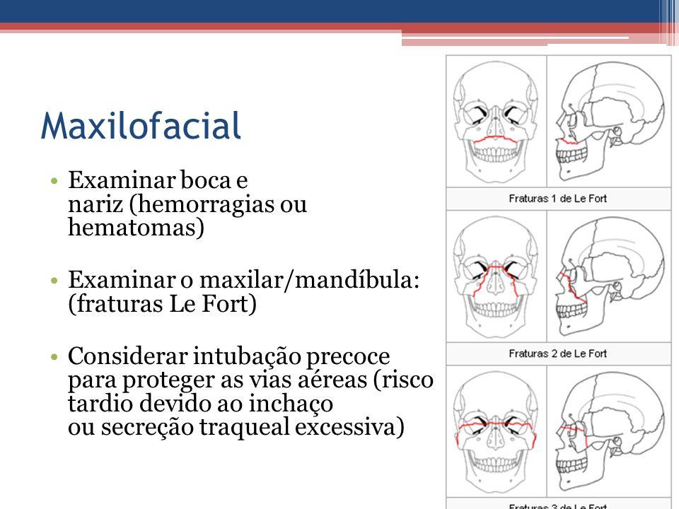 Maxilofacial Examinar boca e nariz (hemorragias ou hematomas) Examinar o maxilar/mandíbula: (fraturas Le Fort) Considerar intubação precoce para prote