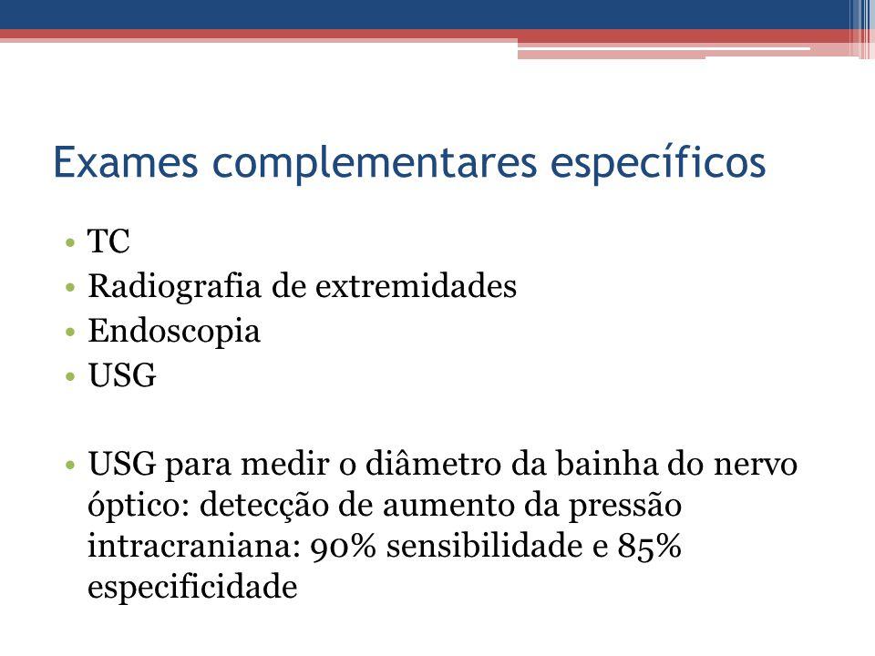 Exames complementares específicos TC Radiografia de extremidades Endoscopia USG USG para medir o diâmetro da bainha do nervo óptico: detecção de aumen