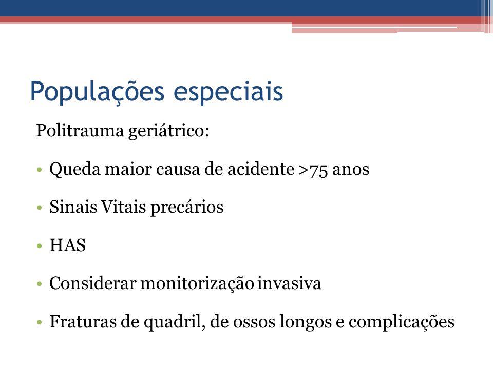 Populações especiais Politrauma geriátrico: Queda maior causa de acidente >75 anos Sinais Vitais precários HAS Considerar monitorização invasiva Fratu