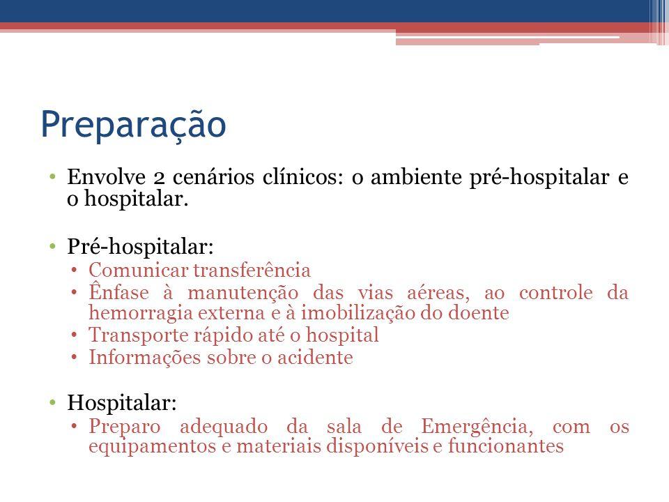 Preparação Envolve 2 cenários clínicos: o ambiente pré-hospitalar e o hospitalar. Pré-hospitalar: Comunicar transferência Ênfase à manutenção das vias