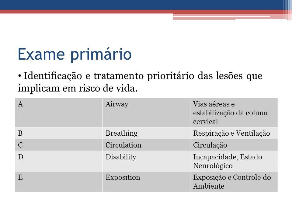 Exame primário AAirwayVias aéreas e estabilização da coluna cervical BBreathingRespiração e Ventilação CCirculationCirculação DDisabilityIncapacidade,