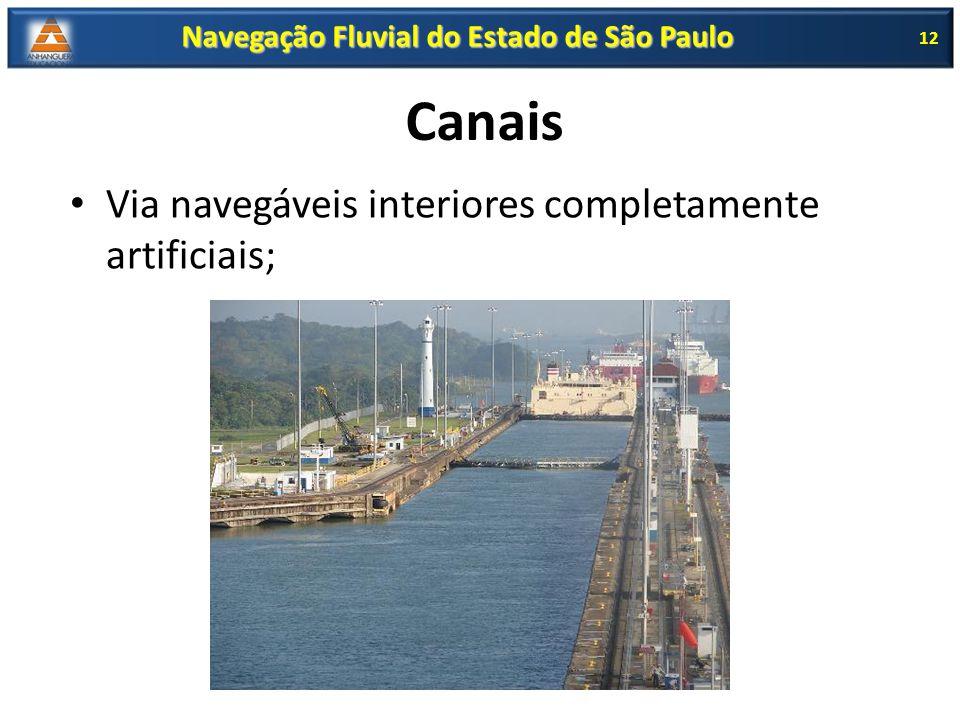 Canais Via navegáveis interiores completamente artificiais; 12 Navegação Fluvial do Estado de São Paulo