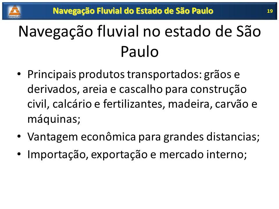 Navegação fluvial no estado de São Paulo Principais produtos transportados: grãos e derivados, areia e cascalho para construção civil, calcário e fert