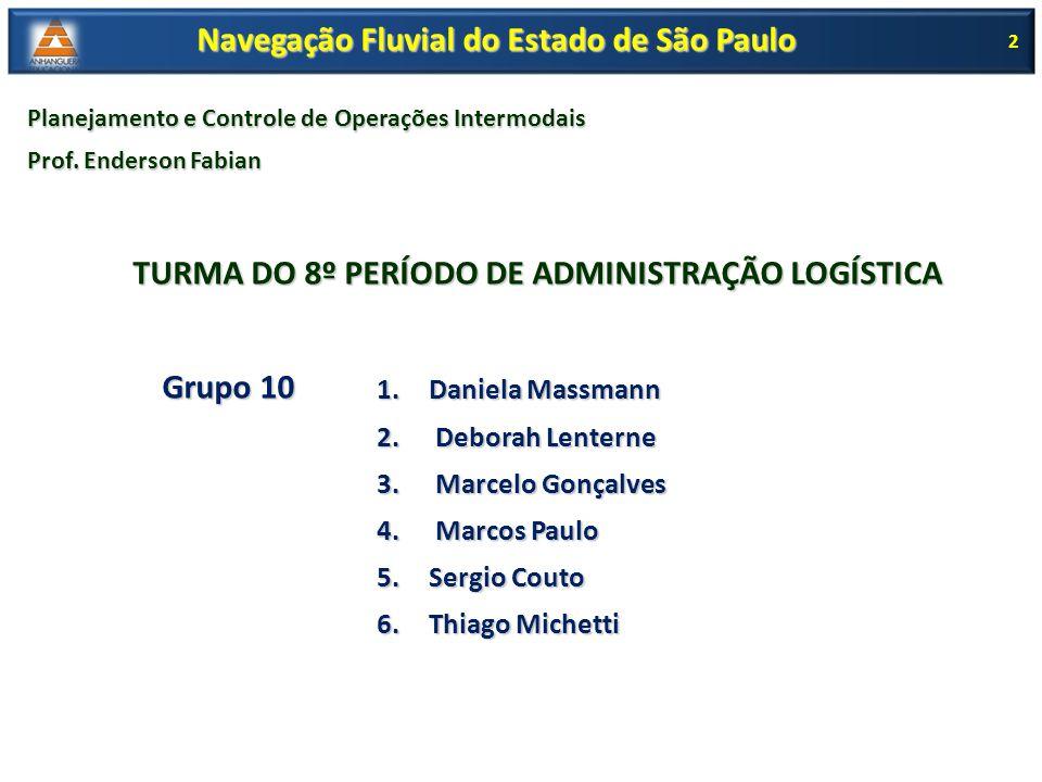 2 Navegação Fluvial do Estado de São Paulo Planejamento e Controle de Operações Intermodais Prof. Enderson Fabian TURMA DO 8º PERÍODO DE ADMINISTRAÇÃO