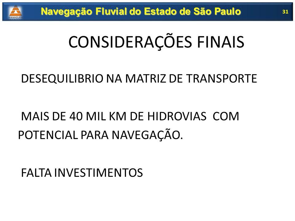 DESEQUILIBRIO NA MATRIZ DE TRANSPORTE MAIS DE 40 MIL KM DE HIDROVIAS COM POTENCIAL PARA NAVEGAÇÃO. FALTA INVESTIMENTOS 31 Navegação Fluvial do Estado