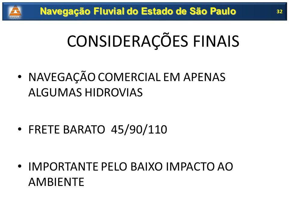 NAVEGAÇÃO COMERCIAL EM APENAS ALGUMAS HIDROVIAS FRETE BARATO 45/90/110 IMPORTANTE PELO BAIXO IMPACTO AO AMBIENTE 32 Navegação Fluvial do Estado de São