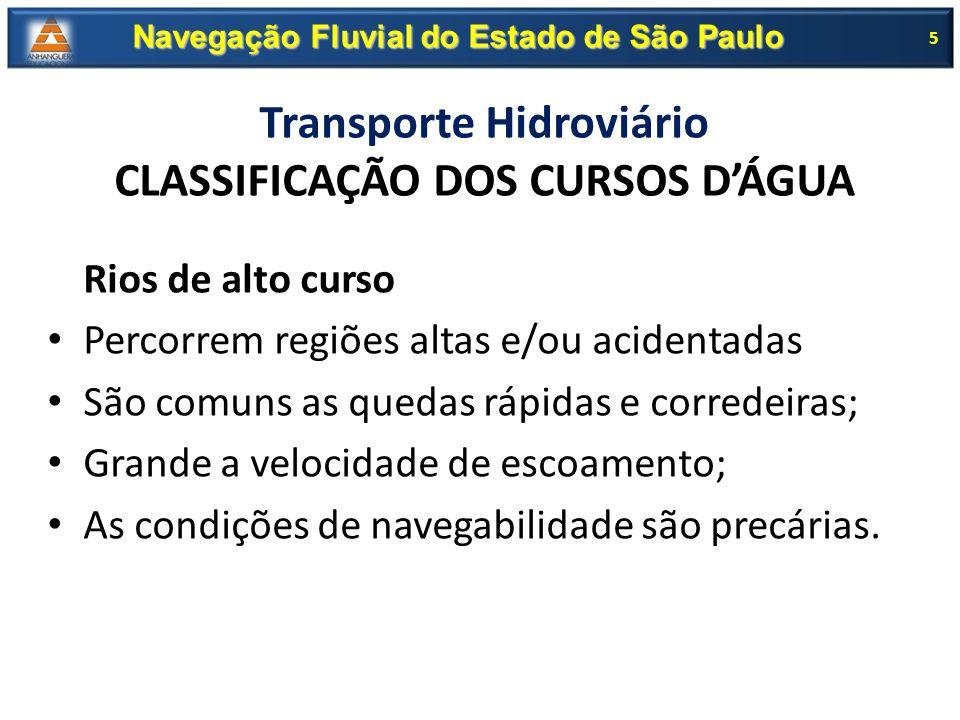 Transporte Hidroviário CLASSIFICAÇÃO DOS CURSOS D'ÁGUA Rios de alto curso Percorrem regiões altas e/ou acidentadas São comuns as quedas rápidas e corr
