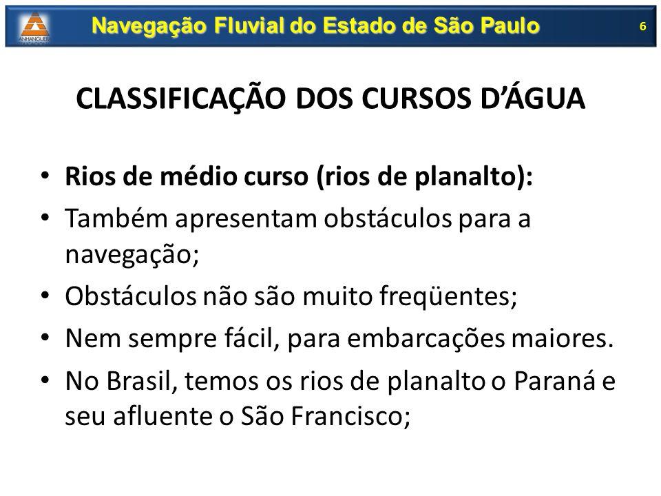 CLASSIFICAÇÃO DOS CURSOS D'ÁGUA Rios de médio curso (rios de planalto): Também apresentam obstáculos para a navegação; Obstáculos não são muito freqüe