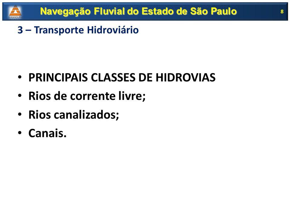 3 – Transporte Hidroviário PRINCIPAIS CLASSES DE HIDROVIAS Rios de corrente livre; Rios canalizados; Canais. 8 Navegação Fluvial do Estado de São Paul