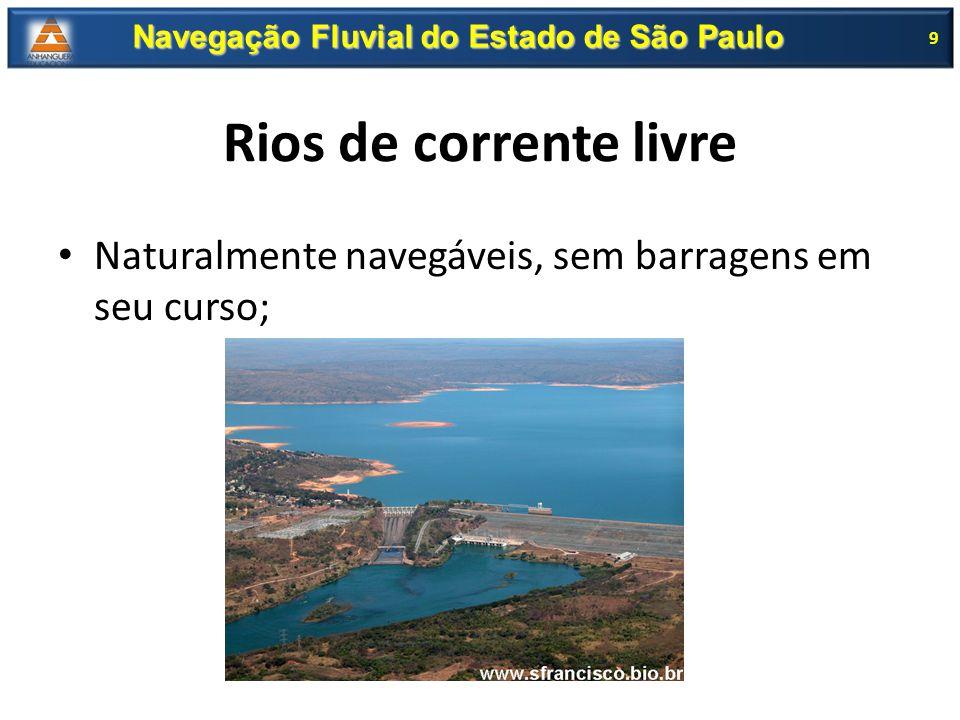 Rios canalizados; Construído uma serie de barragens com eclusas; 10 Navegação Fluvial do Estado de São Paulo