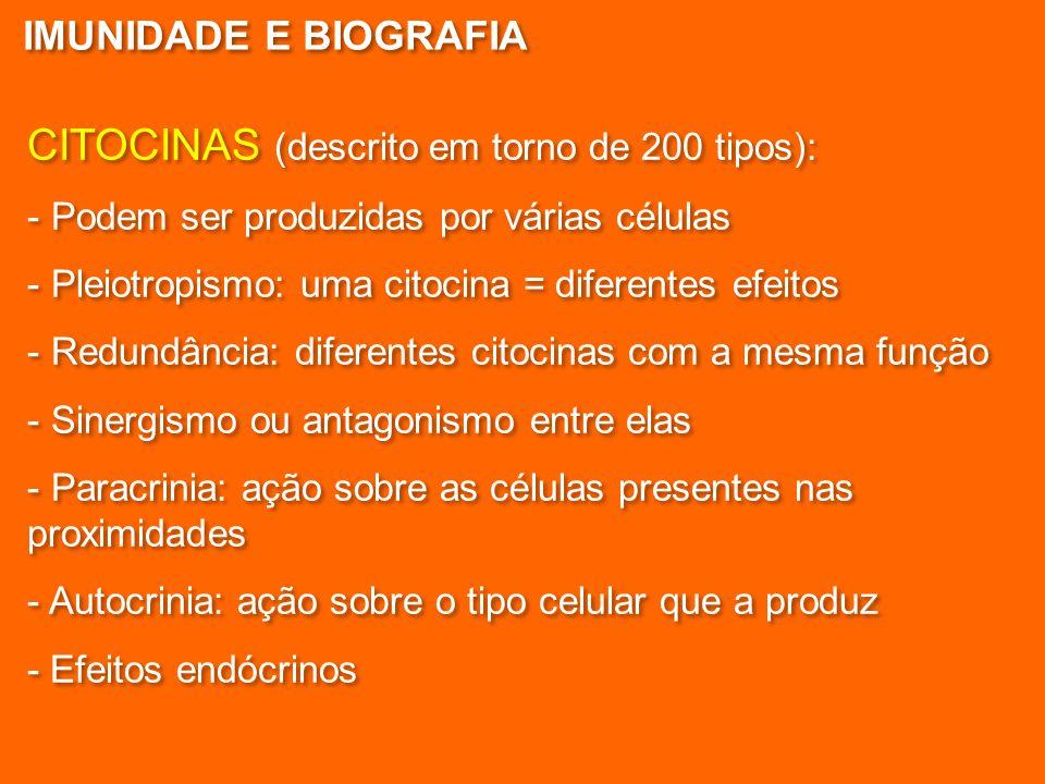 CITOCINAS (descrito em torno de 200 tipos): - Podem ser produzidas por várias células - Pleiotropismo: uma citocina = diferentes efeitos - Redundância: diferentes citocinas com a mesma função - Sinergismo ou antagonismo entre elas - Paracrinia: ação sobre as células presentes nas proximidades - Autocrinia: ação sobre o tipo celular que a produz - Efeitos endócrinos CITOCINAS (descrito em torno de 200 tipos): - Podem ser produzidas por várias células - Pleiotropismo: uma citocina = diferentes efeitos - Redundância: diferentes citocinas com a mesma função - Sinergismo ou antagonismo entre elas - Paracrinia: ação sobre as células presentes nas proximidades - Autocrinia: ação sobre o tipo celular que a produz - Efeitos endócrinos IMUNIDADE E BIOGRAFIA