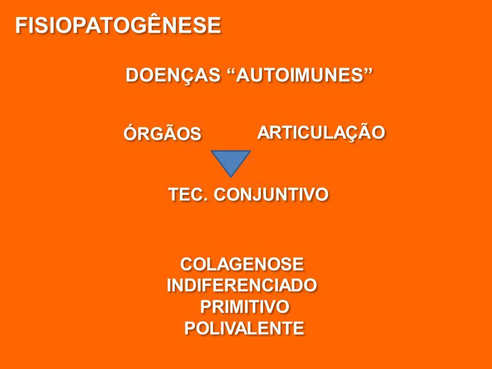 """DOENÇAS """"AUTOIMUNES"""" FISIOPATOGÊNESE TEC. CONJUNTIVO ÓRGÃOS ARTICULAÇÃO COLAGENOSE INDIFERENCIADO PRIMITIVO POLIVALENTE COLAGENOSE INDIFERENCIADO PRIM"""