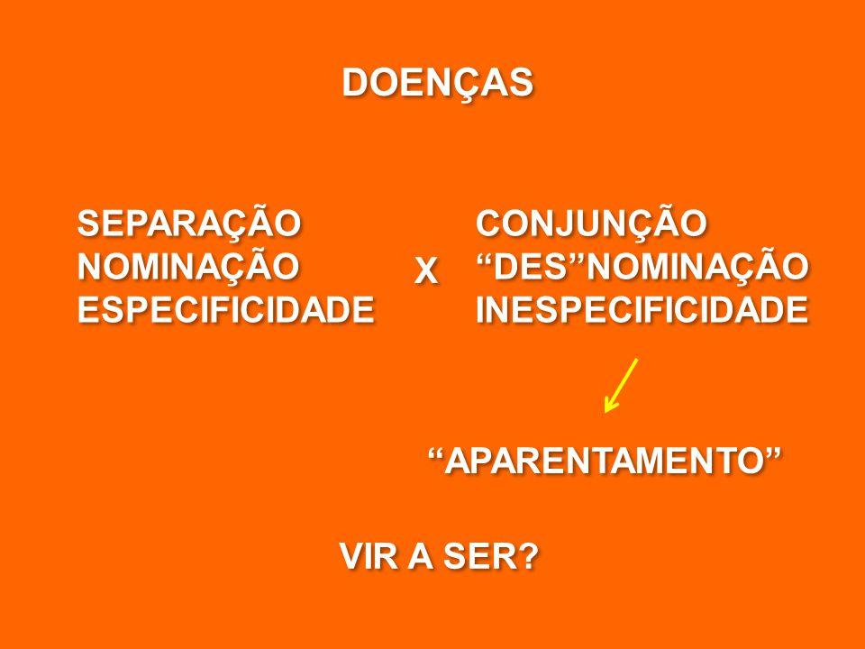 DOENÇAS SEPARAÇÃO NOMINAÇÃO ESPECIFICIDADE SEPARAÇÃO NOMINAÇÃO ESPECIFICIDADE CONJUNÇÃO DES NOMINAÇÃO INESPECIFICIDADE CONJUNÇÃO DES NOMINAÇÃO INESPECIFICIDADE X X VIR A SER.