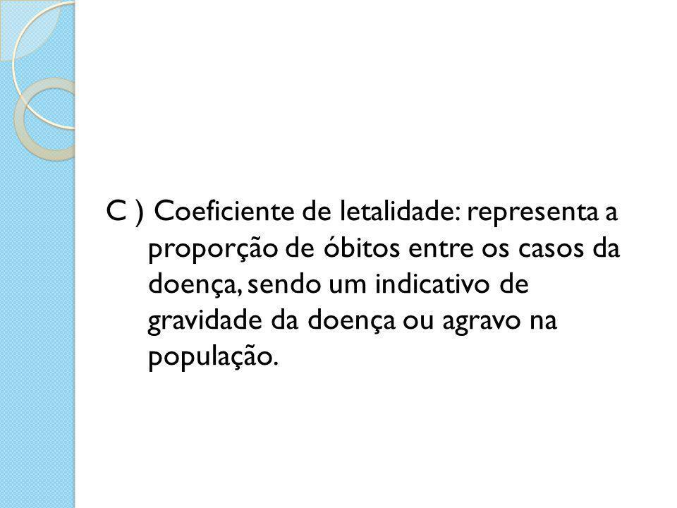 C ) Coeficiente de letalidade: representa a proporção de óbitos entre os casos da doença, sendo um indicativo de gravidade da doença ou agravo na popu