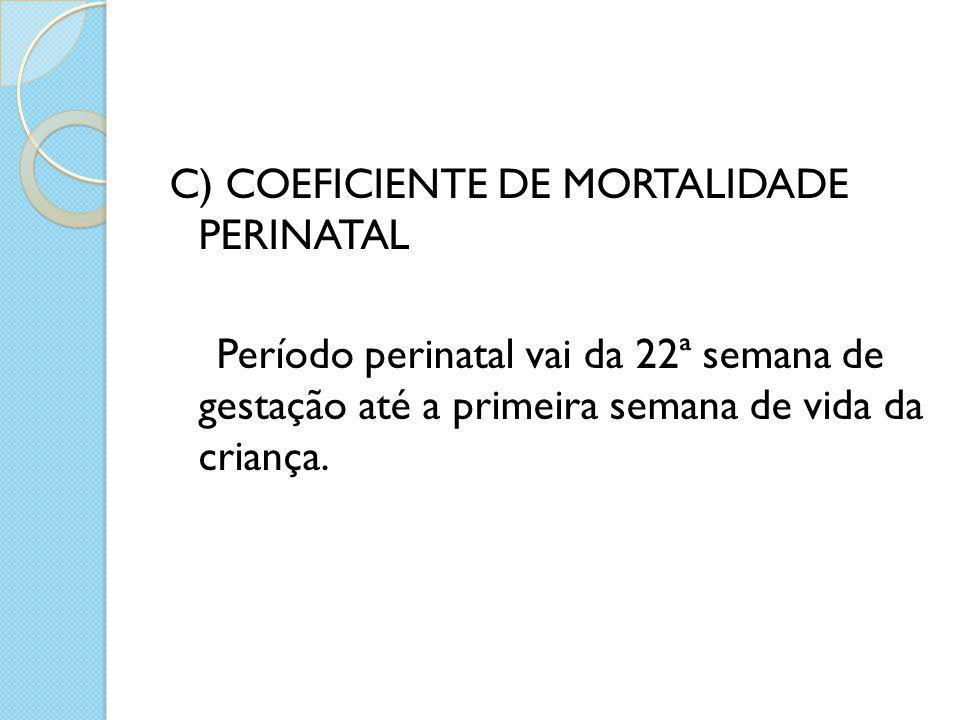d) COEFICIENTE DE MORTALIDADE MATERNA: Representa o risco de óbitos por causas ligadas à gestação, ao parto ou ao puerpério, sendo um indicador da qualidade de assistência à gestação e ao parto numa comunidade.