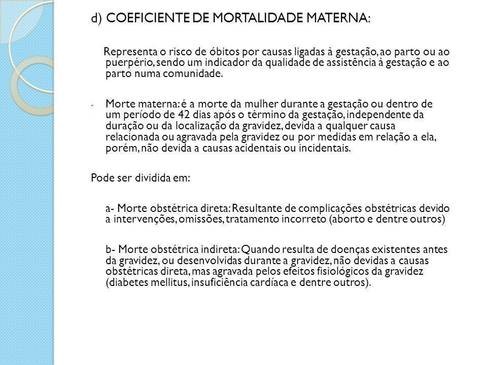 d) COEFICIENTE DE MORTALIDADE MATERNA: Representa o risco de óbitos por causas ligadas à gestação, ao parto ou ao puerpério, sendo um indicador da qua