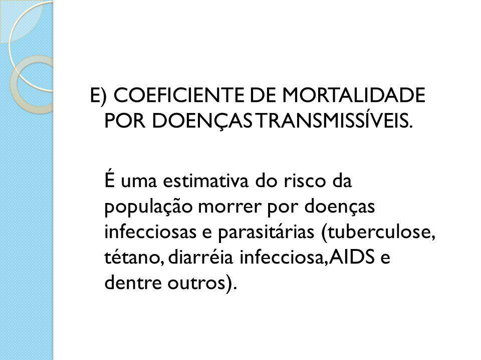E) COEFICIENTE DE MORTALIDADE POR DOENÇAS TRANSMISSÍVEIS. É uma estimativa do risco da população morrer por doenças infecciosas e parasitárias (tuberc