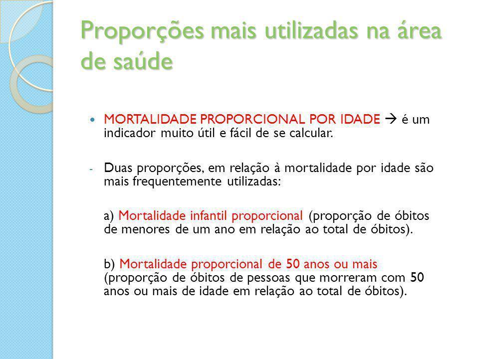 Proporções mais utilizadas na área de saúde MORTALIDADE PROPORCIONAL POR IDADE  é um indicador muito útil e fácil de se calcular. - Duas proporções,