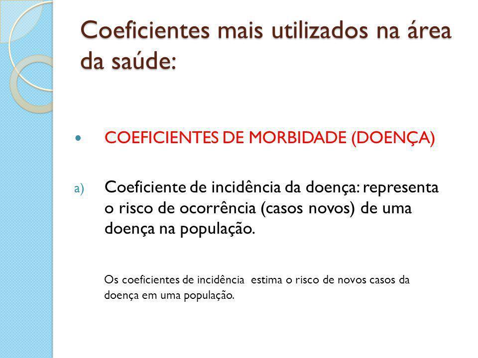 Coeficientes mais utilizados na área da saúde: COEFICIENTES DE MORBIDADE (DOENÇA) a) Coeficiente de incidência da doença: representa o risco de ocorrê
