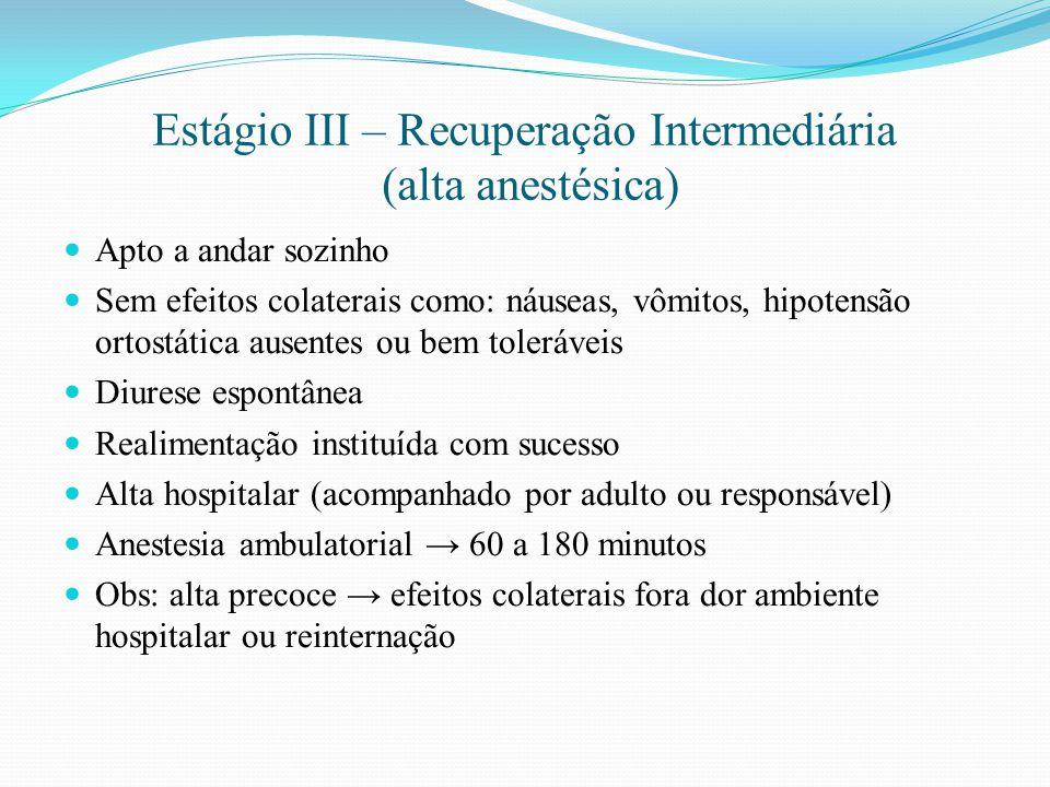 Estágio III – Recuperação Intermediária (alta anestésica) Apto a andar sozinho Sem efeitos colaterais como: náuseas, vômitos, hipotensão ortostática a