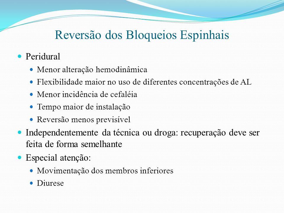 Reversão dos Bloqueios Espinhais Peridural Menor alteração hemodinâmica Flexibilidade maior no uso de diferentes concentrações de AL Menor incidência