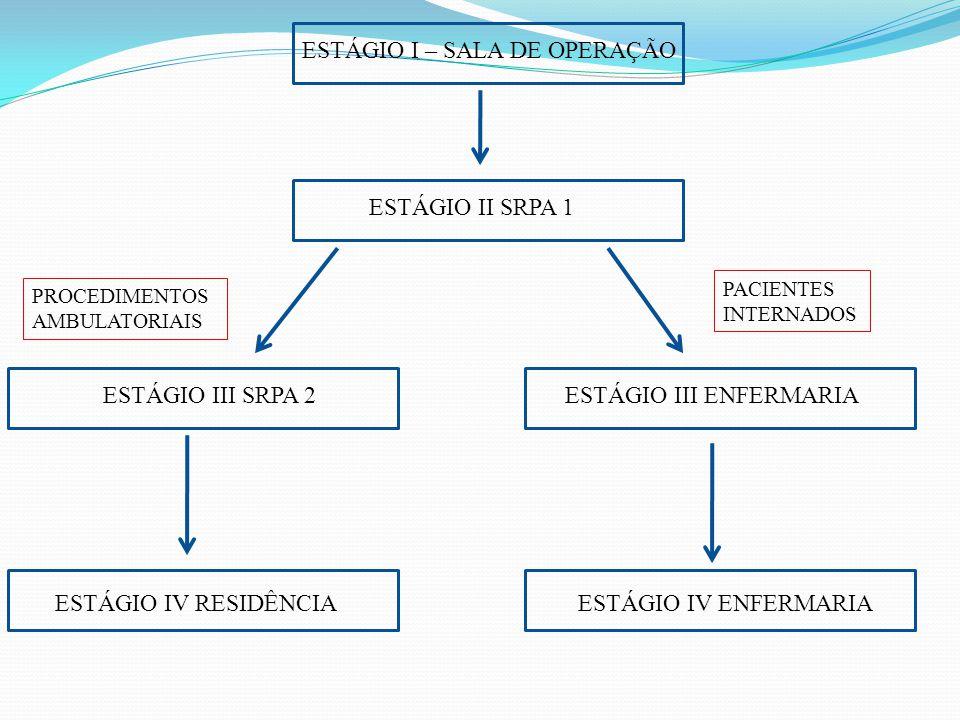 ESTÁGIO I – SALA DE OPERAÇÃO ESTÁGIO II SRPA 1 ESTÁGIO III SRPA 2ESTÁGIO III ENFERMARIA ESTÁGIO IV ENFERMARIAESTÁGIO IV RESIDÊNCIA PROCEDIMENTOS AMBUL