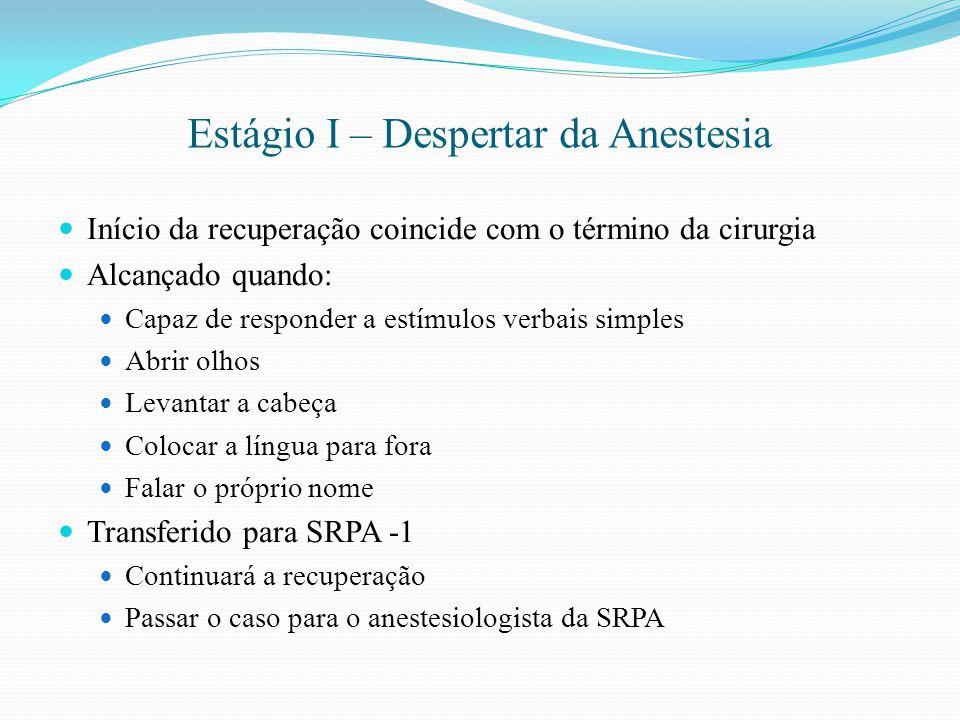 Estágio I – Despertar da Anestesia Início da recuperação coincide com o término da cirurgia Alcançado quando: Capaz de responder a estímulos verbais s