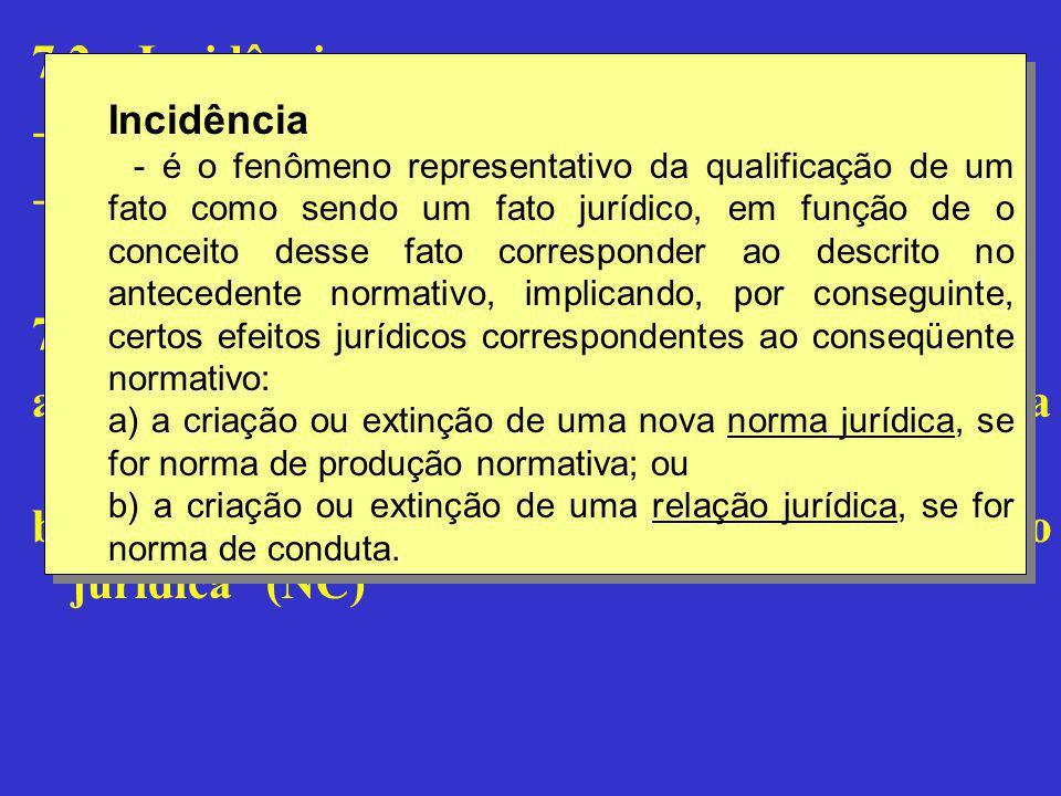 """7.2 – Incidência -Definição -Efeitos 7.3 – Causalidade jurídica: a) """"norma jurídica – fato jurídico – norma jurídica"""" (NPN) b) """"norma jurídica – fato"""