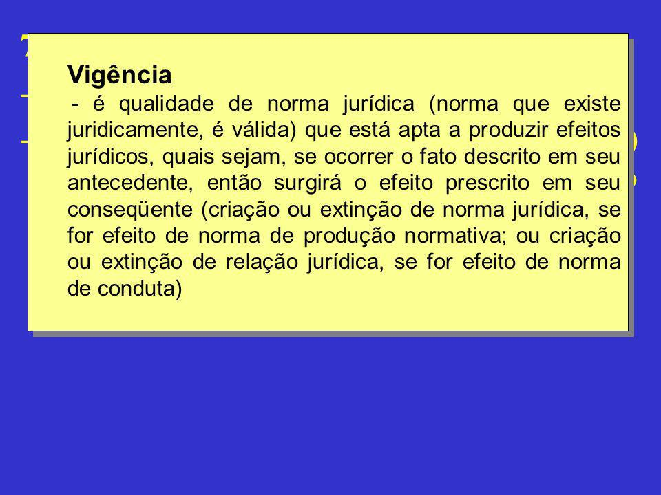 """7.5 – Vigência - Definição - A """"vigência não imediata"""" (vacatio legis) decorre de uma declaração prescritiva a termo Vigência - é qualidade de norma j"""