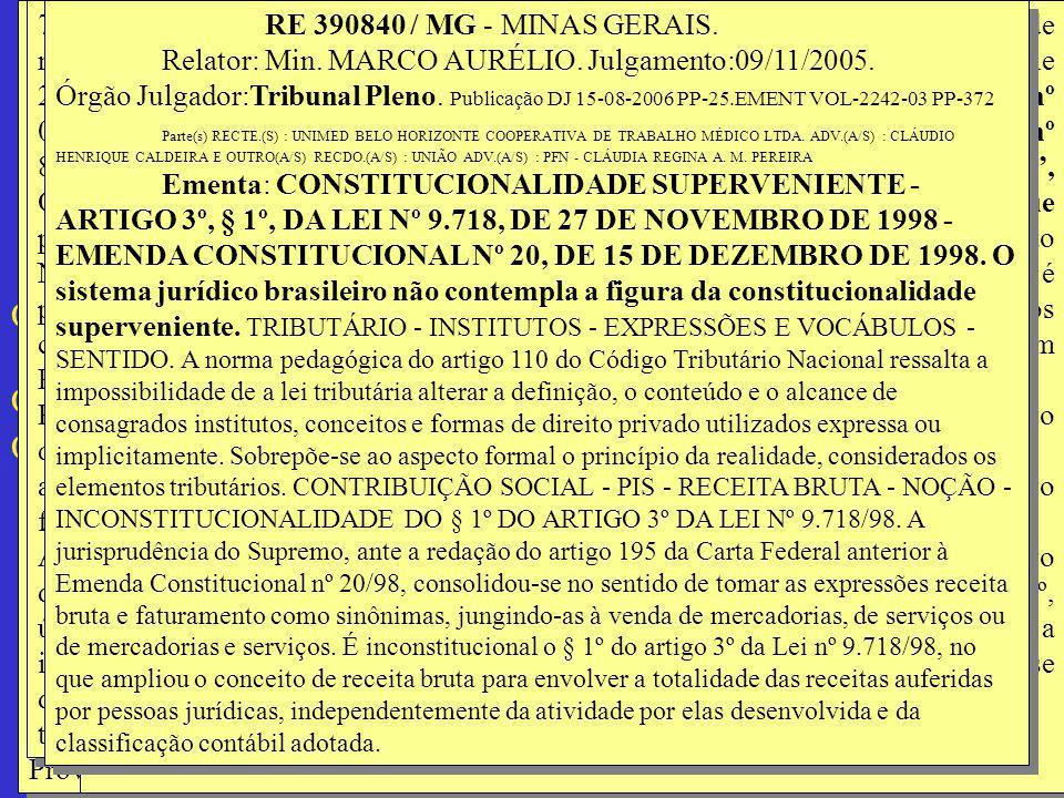 RE 390840 / MG - MINAS GERAIS. Relator: Min. MARCO AURÉLIO. Julgamento:09/11/2005. Órgão Julgador:Tribunal Pleno Publicação DJ 15-08-2006 PP-00025EMEN