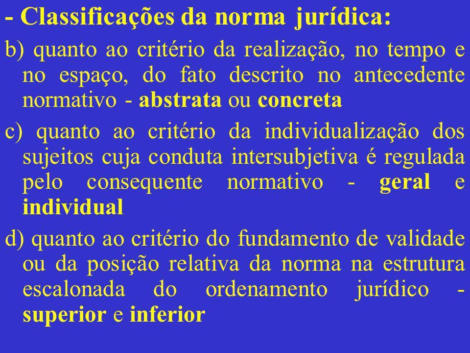 - Classificações da norma jurídica: b) quanto ao critério da realização, no tempo e no espaço, do fato descrito no antecedente normativo - abstrata ou