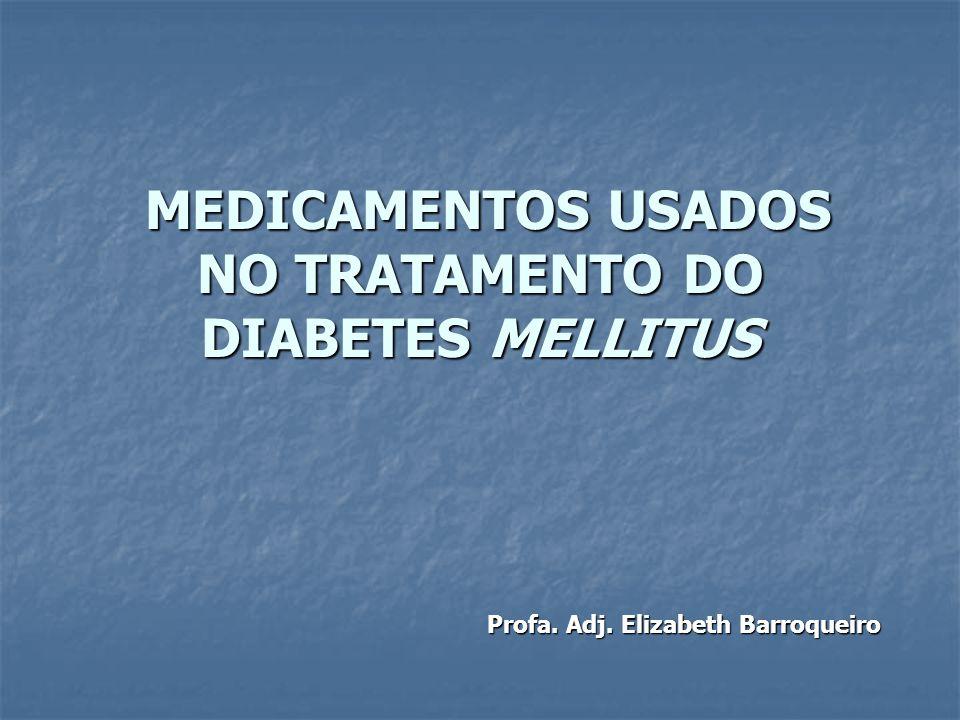 MEDICAMENTOS USADOS NO TRATAMENTO DO DIABETES MELLITUS MEDICAMENTOS USADOS NO TRATAMENTO DO DIABETES MELLITUS Profa. Adj. Elizabeth Barroqueiro Profa.