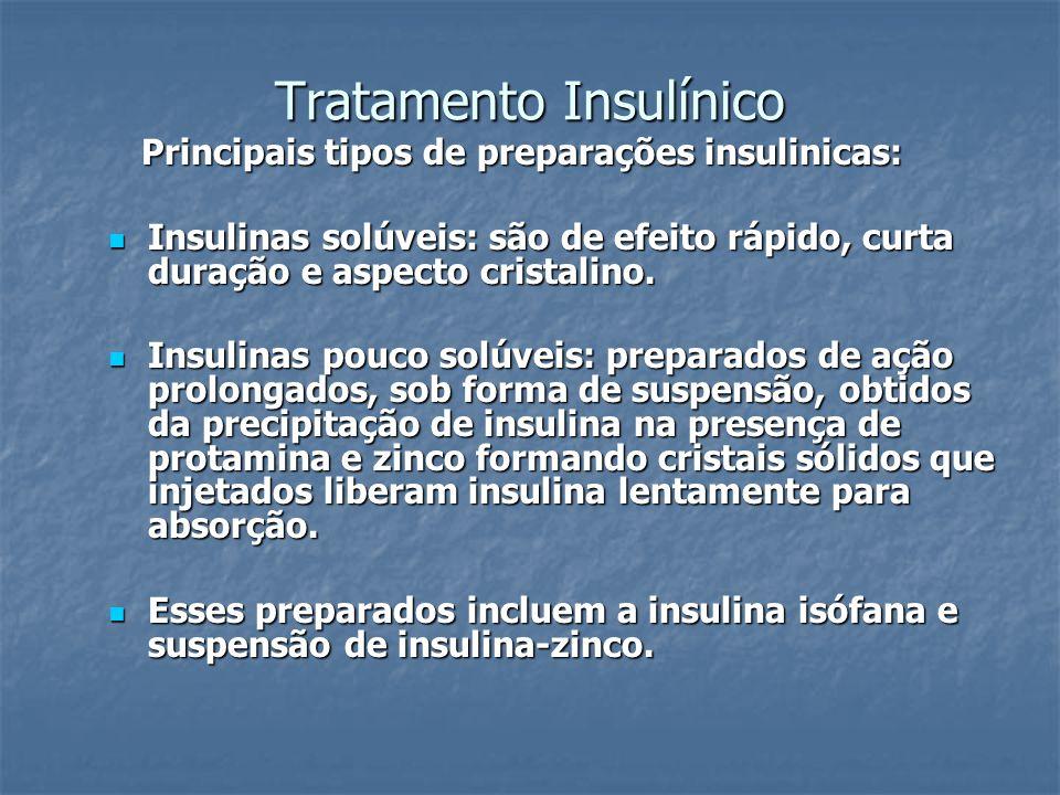 Tratamento Insulínico Principais tipos de preparações insulinicas: Principais tipos de preparações insulinicas: Insulinas solúveis: são de efeito rápi
