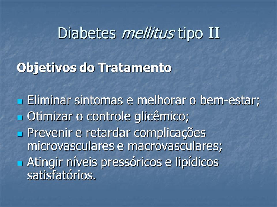 Diabetes mellitus tipo II Objetivos do Tratamento Eliminar sintomas e melhorar o bem-estar; Eliminar sintomas e melhorar o bem-estar; Otimizar o contr